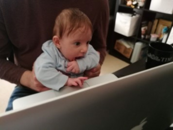 My son helping to hack